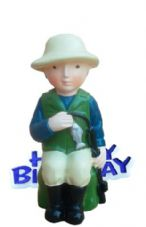 Fisherman Resin Topper with Happy Birthday Motto